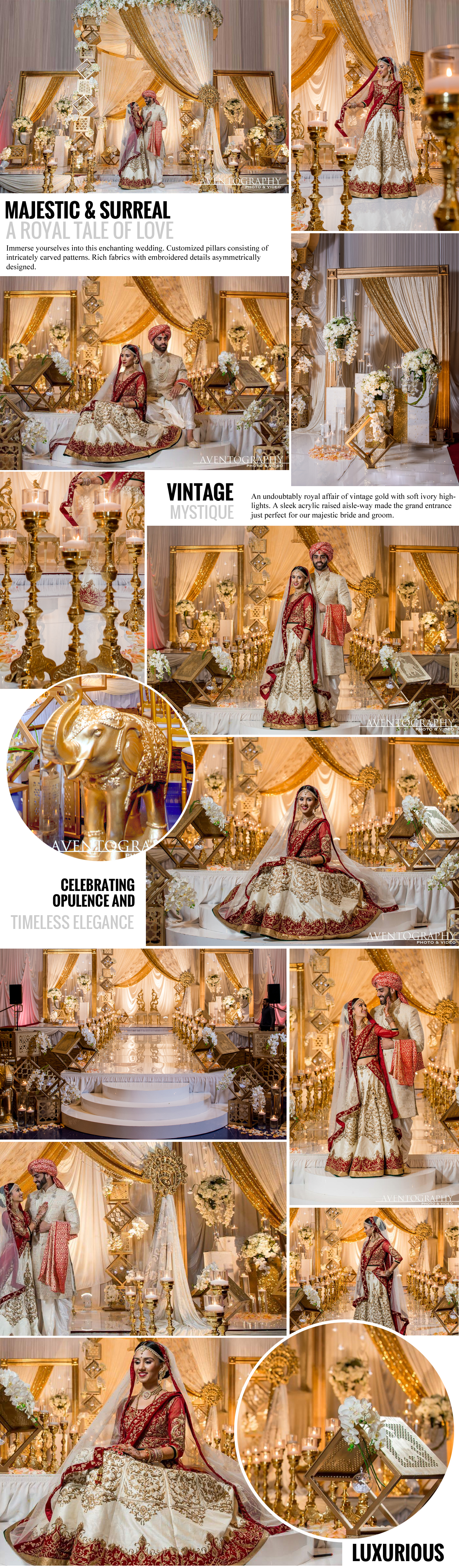 Majestic and surreal, A royal tale of Love, Immerse yourselves into this enchanting wedding. Customized pillars consisting of intricately carved patterns. Rich fabrics with embroidered details asymmetrically designed. Vintage Mystique, An undoubtably royal affair of vintage gold with soft ivory highlights. A sleek acrylic raised aisle-way made the grand entrance just perfect for our majestic bride and groom.